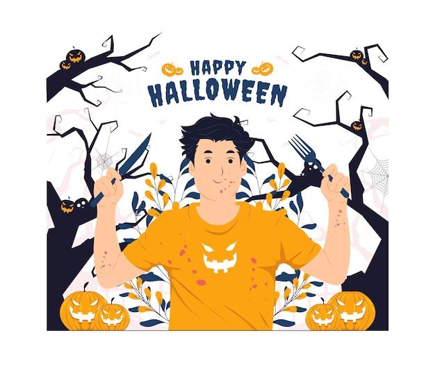 Mężczyzna z rozbryzgami krwi trzymający widelec i nóż na ilustracji koncepcji halloween