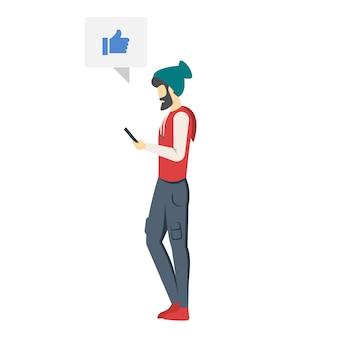 Mężczyzna z smartphone ilustracją