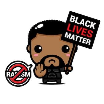 Mężczyzna z symbolem zatrzymania rasizmu