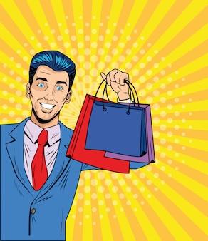 Mężczyzna z torba na zakupy retro wektorowym projektem