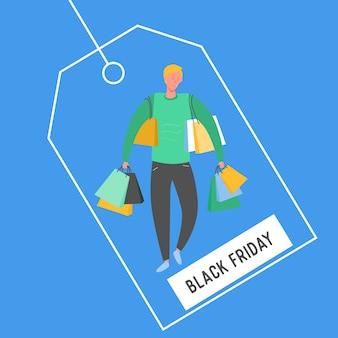 Mężczyzna z torby na zakupy i prezenty. postacie ludzi, duża sprzedaż, baner rabatowy i reklamowy, ulotka, czarny piątek, ilustracja koncepcja plakatu promocyjnego w