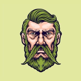 Mężczyzna z wąsami marihuany