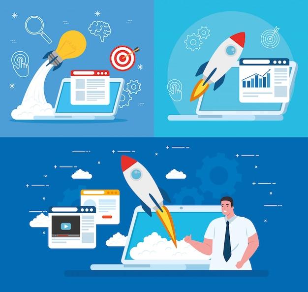 Mężczyzna z zaczyna rakietę w laptopie i ikona ustalonym wektorowym projekcie