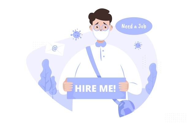 Mężczyzna z zatrudnij mnie oznakowaniem dla koncepcji ilustracji dla bezrobotnych