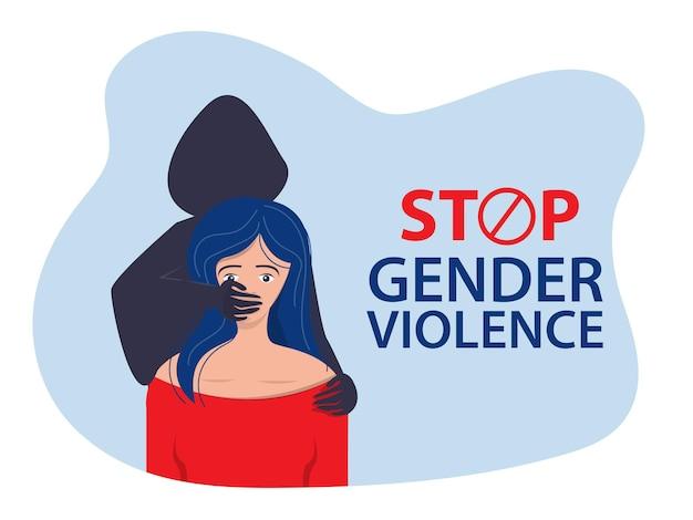 Mężczyzna zakrywa ręką usta kobiety. wstrzymać przemoc wobec kobiet. ilustracja wektorowa.