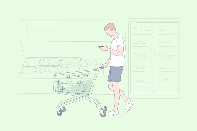 Mężczyzna zakupy przy supermarket ilustracją