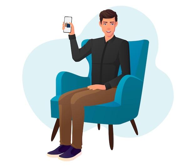 Mężczyzna zamawiający z domu za pomocą telefonu i siedząc na krześle.