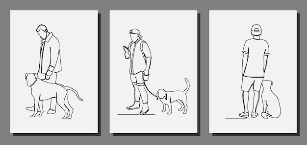 Mężczyzna ze swoim psem w linii ciągłej grafiki wektorowej premium