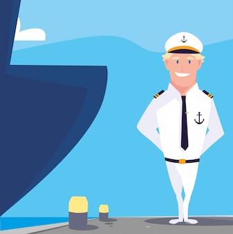 Mężczyzna żeglarz łódź przed statkiem