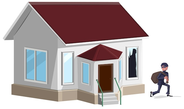 Mężczyzna złodziej w masce okradł dom. ubezpieczenie mienia. ilustracja w formacie
