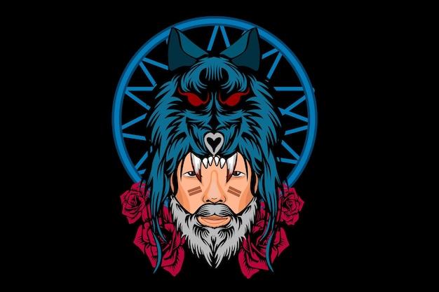 Mężczyzna żołnierz z projektem ilustracji głowy wilka