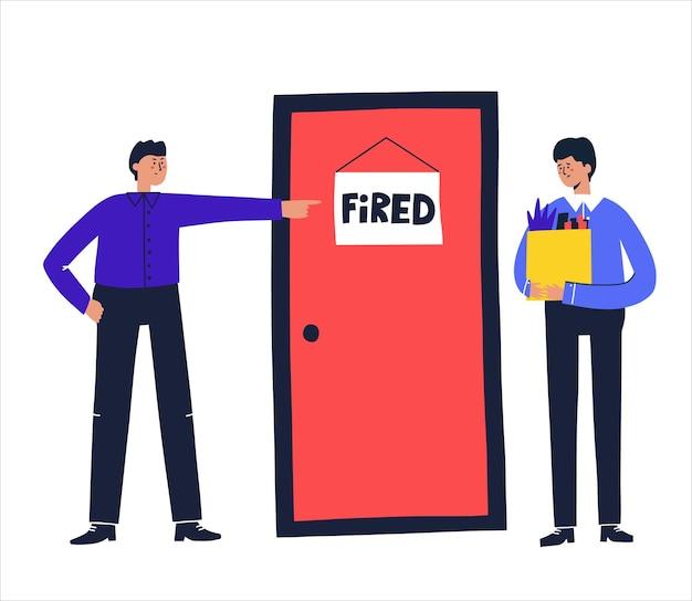 Mężczyzna zostaje zwolniony przez swojego szefa. ręcznie rysowane ilustracji wektorowych. koncepcja utraty pracy.