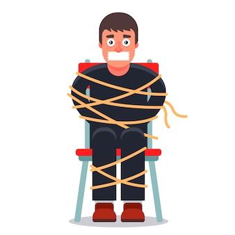 Mężczyzna został porwany i związany na krześle. żądanie okupu. ilustracja postaci.