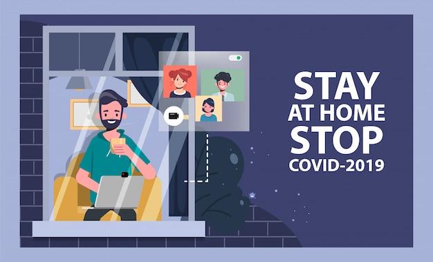 Mężczyzna zostań w domu, unikaj rozprzestrzeniania się koronawirusa podczas covid-19. pracuj z domu do bezpiecznego życia.