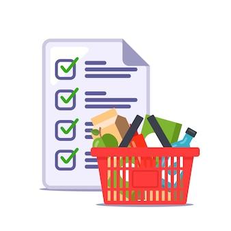 Mężczyzna zrobił listę artykułów spożywczych dla sklepu. przepis. ilustracja.
