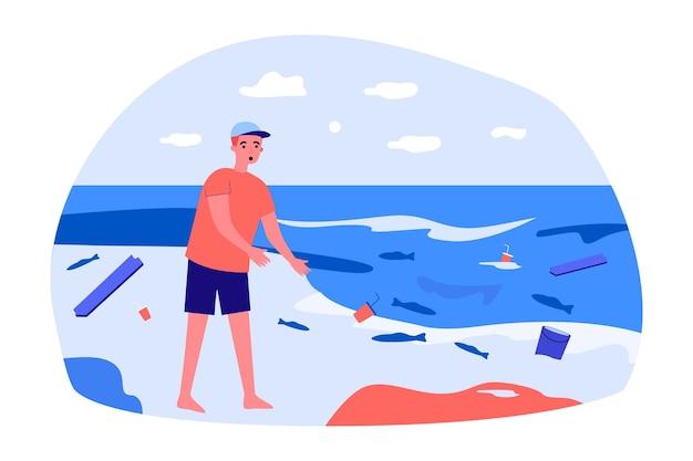 Mężczyzna zszokowany sytuacją na plaży. ilustracja wektorowa płaski. osoba z otwartymi ustami patrzy na śmieci, odpadki i martwe ryby wyrzucane przez morze. ochrona środowiska, burza, koncepcja natury