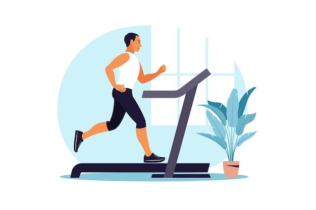 Mężczyźni biegający na bieżni w domu. pojęcie zdrowego stylu życia. trening sportowy. zdatność. ilustracja wektorowa. mieszkanie.