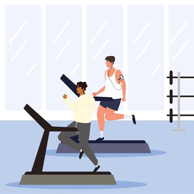 Mężczyźni biegający na bieżni