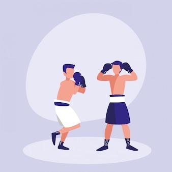 Mężczyźni ćwiczący bokserską postać awatara