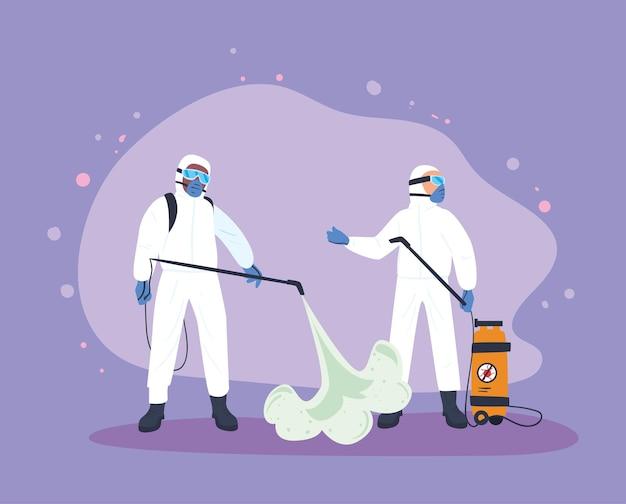 Mężczyźni dezynfekujący na fioletowym tle
