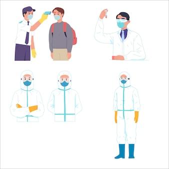 Mężczyźni dostają naukowca sprawdzającego temperaturę i pracownika medycznego hazmat