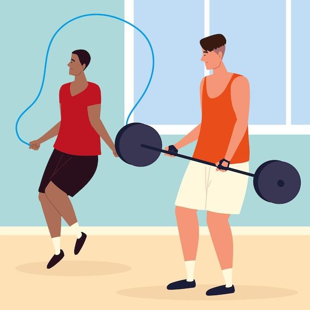 Mężczyźni fitness na siłowni