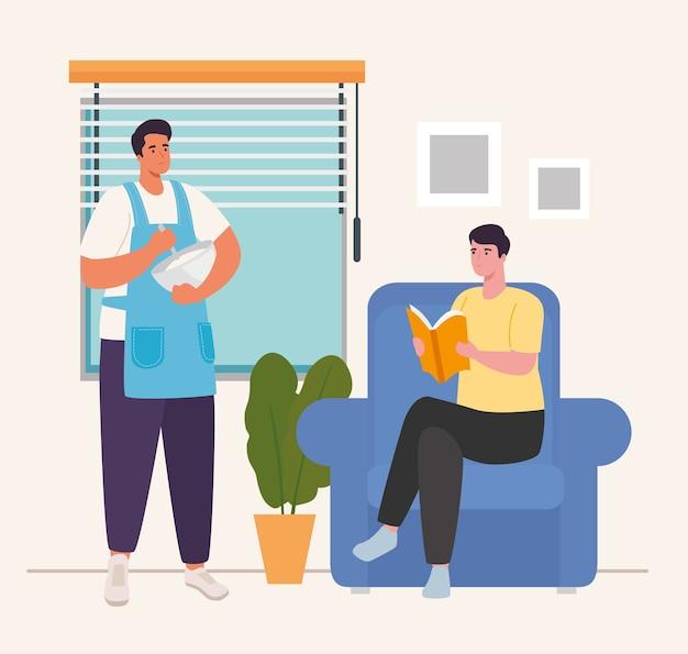 Mężczyźni gotujący i czytający w domu projektują aktywność i wypoczynek