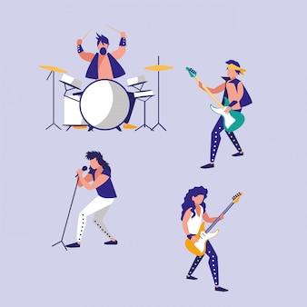 Mężczyźni grający na awatarach perkusji