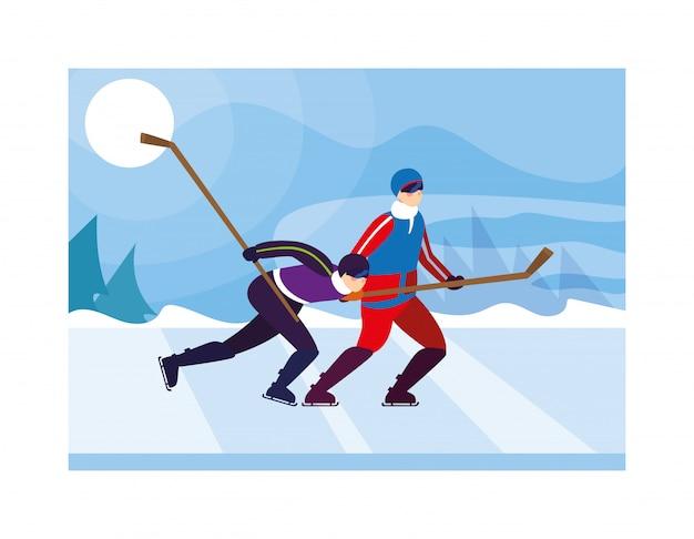 Mężczyźni grający w hokeja, hokeiści z kijem hokejowym, krążek hokejowy