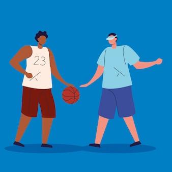 Mężczyźni grający w postać z awatara w koszykówkę
