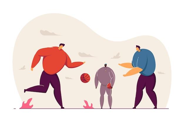Mężczyźni i chłopiec grający w koszykówkę wektor ilustracja. aktywny sport dla dzieci i dorosłych. gry z piłką. sportowy styl życia. koncepcja aktywności na świeżym powietrzu dla strony internetowej lub reklamy