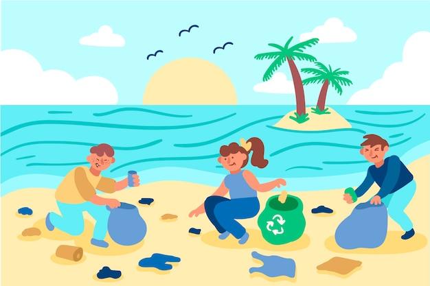 Mężczyźni i kobiety ilustrują sprzątanie plaży