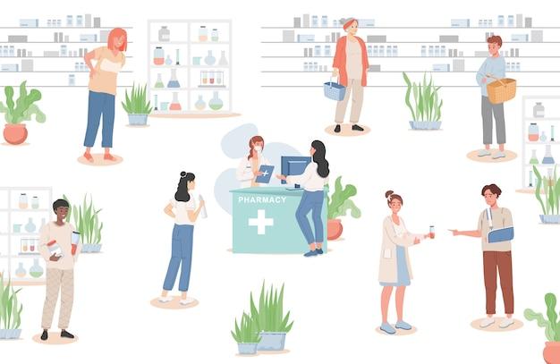 Mężczyźni i kobiety kupują leki w płaskiej ilustracji apteki.