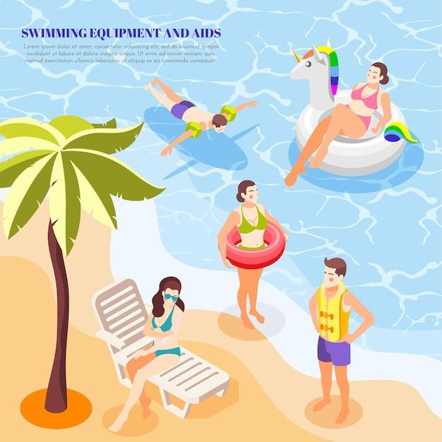 Mężczyźni i kobiety pływający w morzu z różnymi pomocami opaska na ramię kamizelka z pierścieniem skład izometryczny 3d