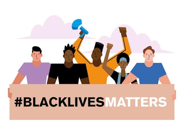 Mężczyźni i kobiety projektują sztandar czarnego życia na temat sprawiedliwości protestacyjnej i rasizmu.