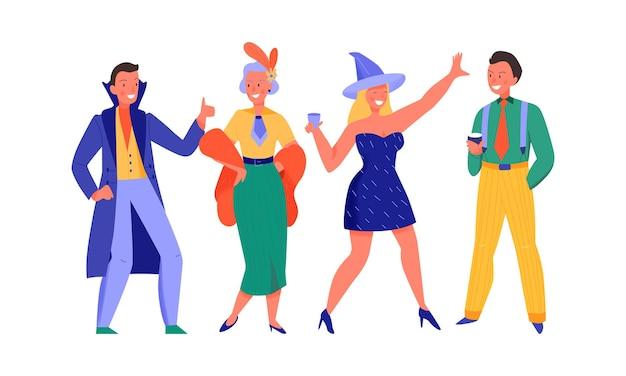 Mężczyźni i kobiety tańczą na płaskiej ilustracji kostiumowej