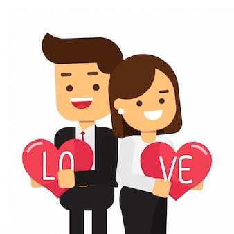 Mężczyźni i kobiety trzymające serca