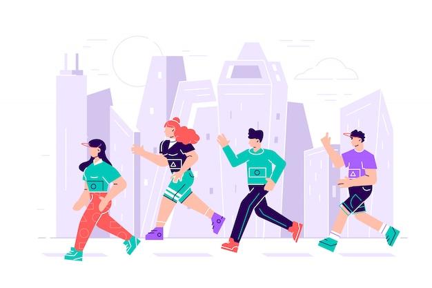 Mężczyźni i kobiety ubrani w sportowe ubrania biegnące w maratonie. uczestnicy imprezy lekkoatletycznej próbują się prześcignąć. płaskie postaci z kreskówek na białym tle. ilustracja