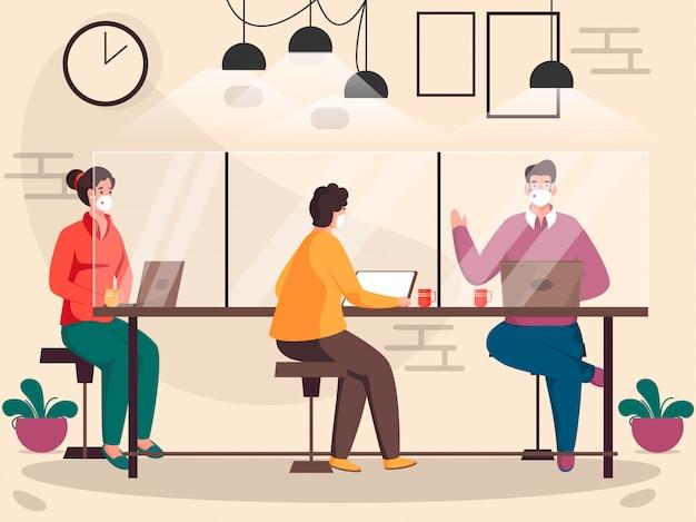 Mężczyźni i kobiety w biurze noszą maskę ochronną, pracując razem w miejscu pracy, zachowując dystans społeczny, aby uniknąć koronawirusa.