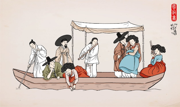 Mężczyźni i kobiety w hanbok. ludzie na łodzi.