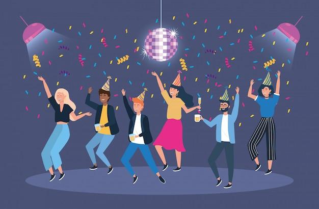 Mężczyźni i kobiety w imprezie z konfetti i światłami