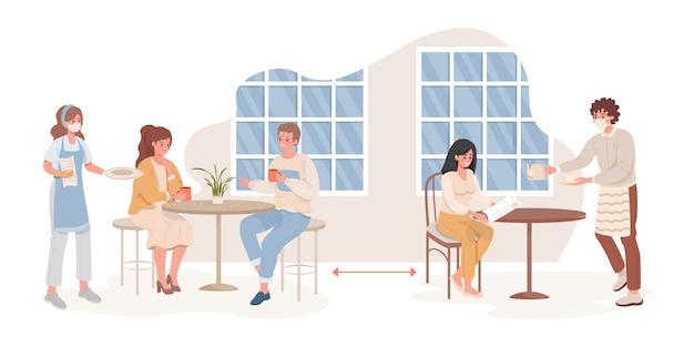 Mężczyźni i kobiety w kawiarni lub restauracji po płaskiej ilustracji epidemii koronawirusa.