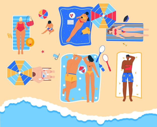Mężczyźni i kobiety wypoczywają w nadmorskim kurorcie, czytają książkę, opalają się na ręczniku, jedzą letnie owoce, spędzają razem czas na wybrzeżu. szczęśliwi ludzie opalając się na plaży w widoku z góry