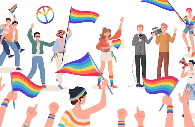 Mężczyźni i kobiety z kolorowymi flagami dumy lgbtq