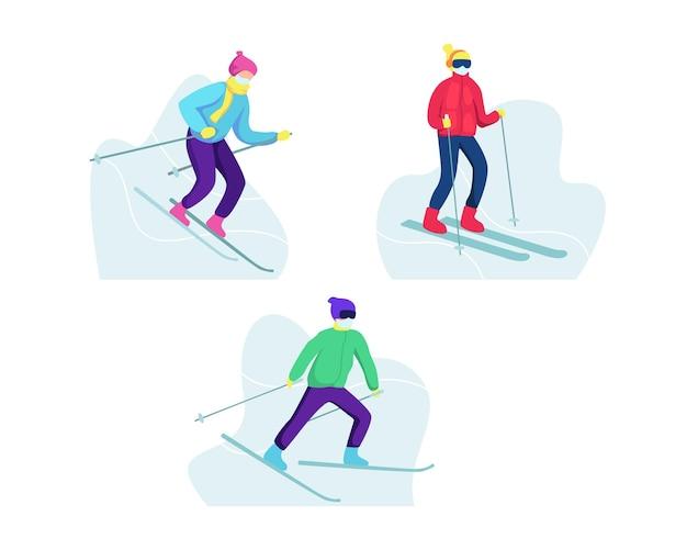Mężczyźni i kobiety z kreskówek jeźdźców narciarskich, aktywność sportów zimowych w górach. zimowe zajęcia na świeżym powietrzu, jazda na nartach w śniegu, koncepcja sportu i ośrodka narciarskiego. w stylu płaskiej
