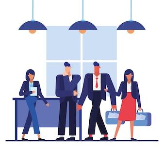 Mężczyźni i kobiety z walizkami w projektowaniu biura, pracownicy obiektów biznesowych i motyw korporacyjny