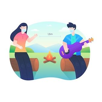 Mężczyźni i kobiety zachowują dystans na pikniku