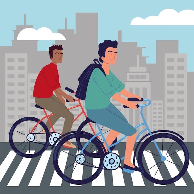 Mężczyźni jeżdżący na rowerze