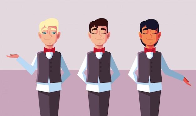Mężczyźni kelnerzy w mundurach w różnych pozach