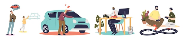 Mężczyźni kochają samochody koncepcja zestawu postaci z kreskówek męskich bawiących się pojazdami zabawkami, kupować lub marzyć o samochodzie na białym tle. płaska ilustracja wektorowa